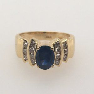 Sapphire and Diamond 18KT Yellow Gold Ring